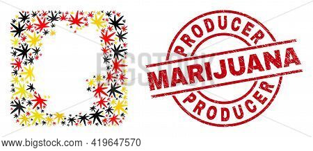 German State Map Collage In German Flag Official Colors - Red, Yellow, Black, And Producer Marijuana