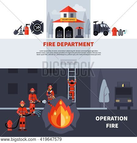 Fire Department And Extinguishing Fire Banners With Fire Station Building And Fireman Brigade With E