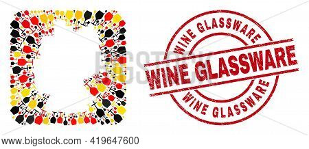 Germany Map Mosaic In Germany Flag Official Colors - Red, Yellow, Black, And Distress Wine Glassware