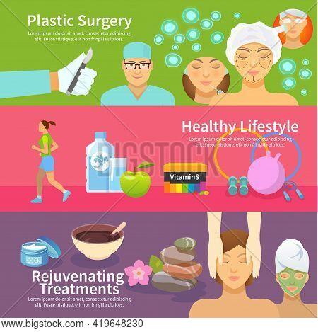 Rejuvenation Horizontal Banner Set With Plastic Surgery Treatments And Healthy Lifestyle Flat Elemen
