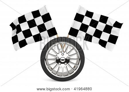 Wheel With Racing Flags