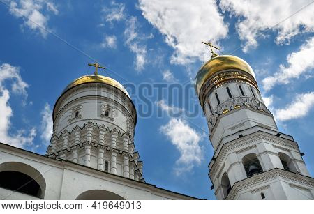 Moscow, Russia - 06 14 2016: Ivan The Great Bell-tower Domes. Cathedral Square Of Moscow Kremlin, Mo