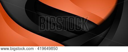 3d Orange And Black Abstract Dynamic Wave Background Design. Graphic Design Element.