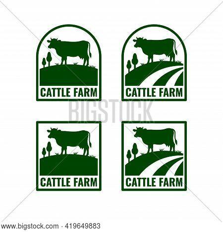 Set Of Cattle Farm Logo Template Design.