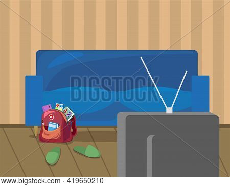 Living Room Interior With Sofa, Backpack And Tv Illustration. Cartoon Blue Couch, Red Schoolbag With