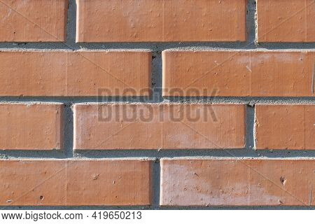Feed, Background, Backdrop Of Red, Orange Clean New Brick Building Wall