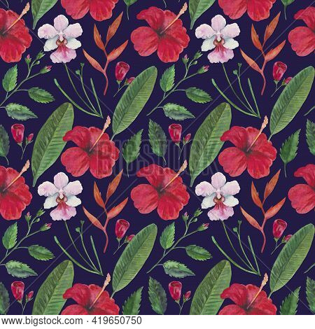 Tropical Seamless Pattern With Red Hibiscus Flowers, Orchids And Leaves. Watercolor Illustration.
