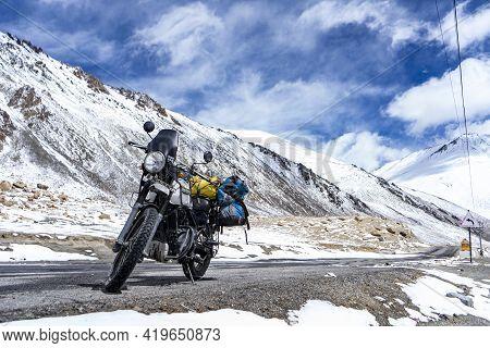 Ladakh, India - April 2 2020 - Adventure Himalayan Royal Enfield Bike On The Roads Of Ladakh.