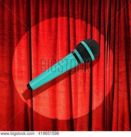 Stand up comedy microphone against red curtains on reflector spot light trendy concept photo. Concept show scene