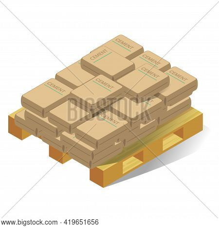 Bags Of Cement On Wooden Pallet Vector Flat Illustration. Paper Sack Concrete Building Material