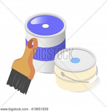 Cartoon Composition For Wall Painting Vector Flat Illustration. Paint Brush, Bucket And Aluminum Jar