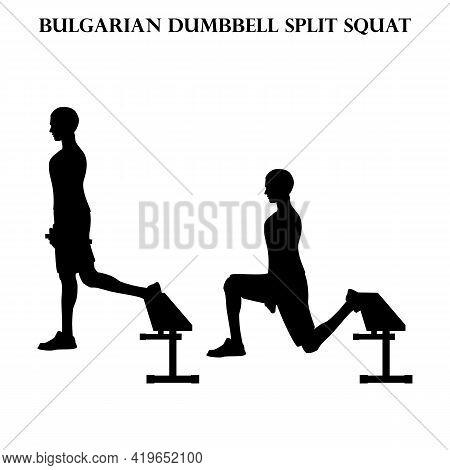 Bulgarian Dumbbell Split Squat Exercise Strength Workout Vector Illustration Silhouette