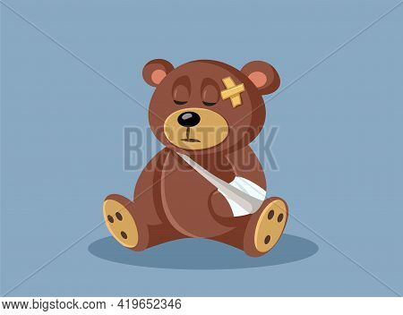 Hurt Teddy Bear With A Bandage And A Broken Arm