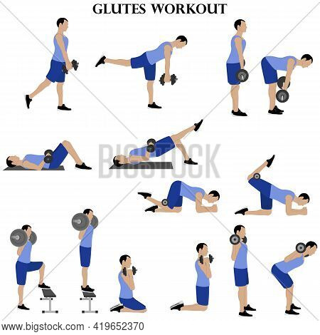 Workout Man Set. Glutes Workout Illustration On The White Background. Vector Illustration