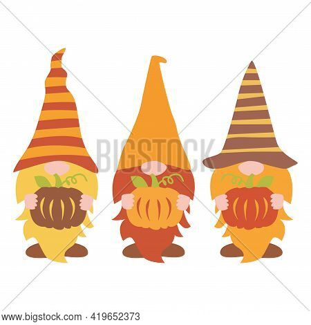 Fall Gnomes Vector, Pumpkin Gnomes Vector Illustration
