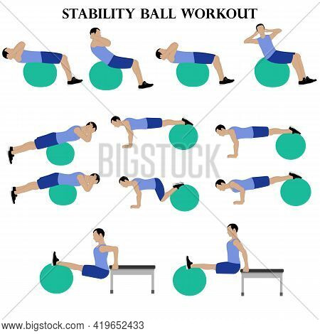 Workout Man Set. Stability Ball Workout Illustration On The White Background. Vector Illustration