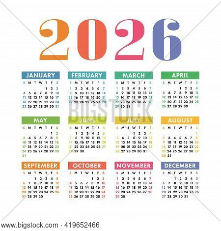 Calendar 2026. English Colorful Vector Square Wall Or Pocket Calender Template. Design. New Year. We