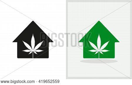 Marijuana House Logo Design. Home Logo With Marijuana Concept Vector. Marijuana And Home Logo Design