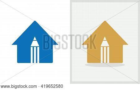 Education House Logo Design. Home Logo With Pencil Concept Vector. Pencil And Home Logo Design