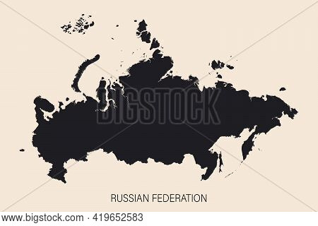 Highly Detailed Russian Federation Map With Borders Isolated On Background