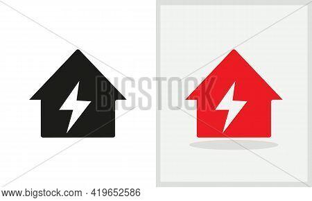 Power House Logo Design. Home Logo With Power Concept Vector. Power And Home Logo Design