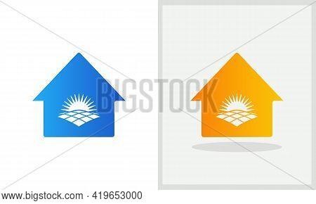 Solar House Logo Design. Home Logo With Solar Concept Vector. Solar And Home Logo Design