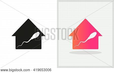 Sperm Cell House Logo Design. Home Logo With Sperm Cell Concept Vector. Sperm Cell And Home Logo Des