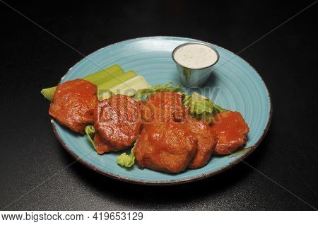 Authentic American Cuisine Food Best Known As Vegan Buffalo Hot Wings