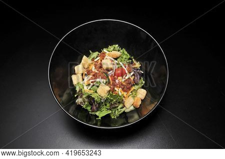 Delicious And Very Colorful Tossed Green Garden Salad.
