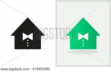 Tie House Logo Design. Home Logo With Tie Concept Vector. Tie And Home Logo Design