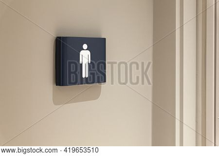 Toilet, Wc Icon, Square White And Dark Blue Sign On Restroom Door