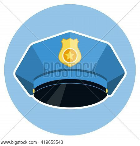 Policeman Cap, Blue Police Cap. Vector Illustration. Vector.
