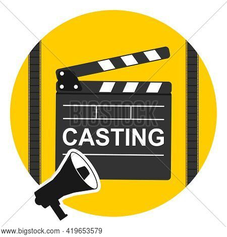 Casting Icon, Yellow Casting Selection Icon. Vector Illustration. Vector.