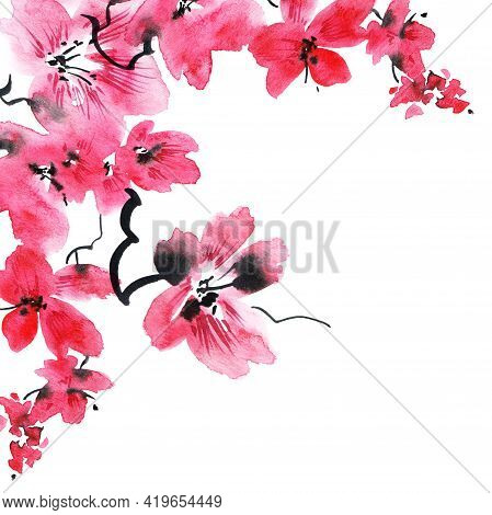 Watercolor Illustration Of Blossom Sakura Tree With Pink Flowers And Buds. Oriental Traditional Pain