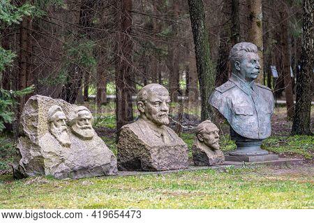 Druskininkai, Lithuania - May 1 2021: Stalin Bronze Sculpture Bust, Lenin, Marx And Hegel Marble Scu