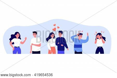 Young Couples In Different Relationships. Heart, Friend, Confrontation Flat Vector Illustration. Lov