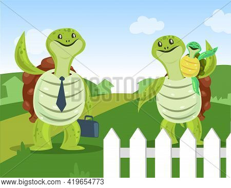 Father Turtle Going To Work Illustration. Happy Tortoise Family, Male Character With Tie And Brief C