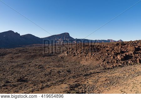 Views Of Lava Field In The Caldera Of Mount Teide National Park, Tenerife, Canary Islands, Spain
