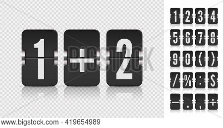 Flip Numbers Font For Time Counter Information Page. Analog Countdown Font. Vintage Symbols Time Met