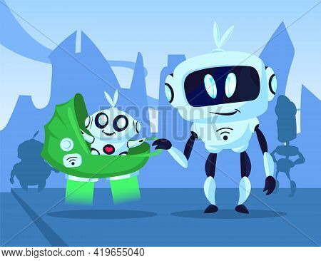 Cartoon Robot Walking With Baby Cyborg In Buggy Illustration. Mechanical Character Smiling At Child