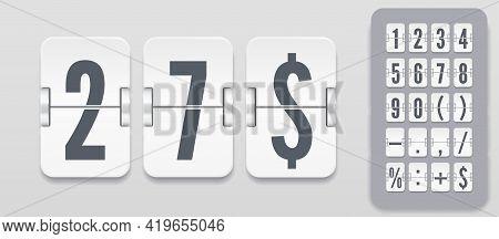 Flip Number And Symbol Scoreboard On Light Background. Vector Illustration Template. White Analog Co