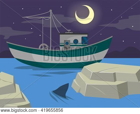 Ship Sailing In Sea At Night Illustration. Marine Landscape With Sea Vessel, Moon And Stars On Dark