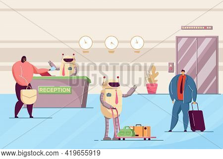 Robots Working As Hotel Attendants. Flat Vector Illustration. Robotic Receptionist And Porter Helpin