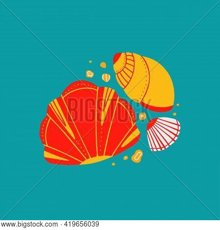 Cartoon Illustration Of Seashells With Sands With Doodle Ornament On Blue Background. Flat Drawing O