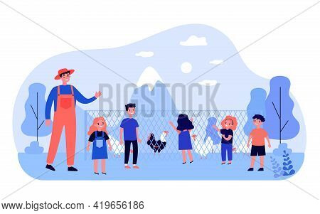 Happy Children Watching Poultry On Farm. Fence, Chicken, Farmer Flat Vector Illustration. Nature And