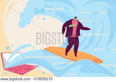 Surfing Internet Flat Vector Illustration. Man Travelling In World Of Internet And Binary Codes, Rid