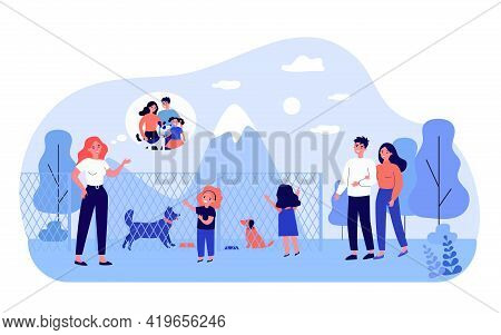 Happy Family Choosing Dog In Animal Shelter. Fence, Friend, Mammal Flat Vector Illustration. Pets An