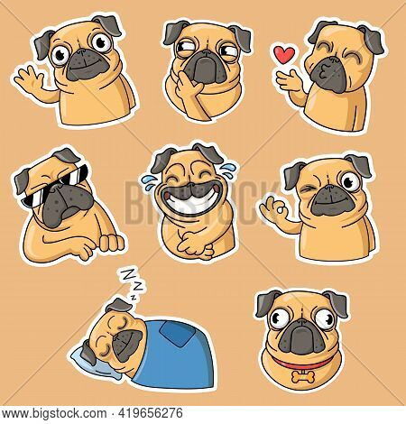 Funny Pug Flat Stickers Collection. Adorable Pug Dog Cartoon Character In Different Poses Isolated V