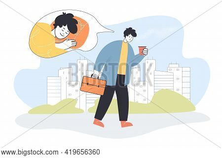 Sad Office Worker Thinking Of Sleep. Tired Man With Coffee Going To Work Flat Vector Illustration. A