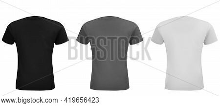 Shirt Mock Up Set. Sport Blank Shirt Template Front And Back View. Black, Gray And White Front Desig